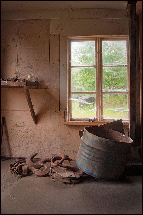 Bortglömt fönster med spindelväv