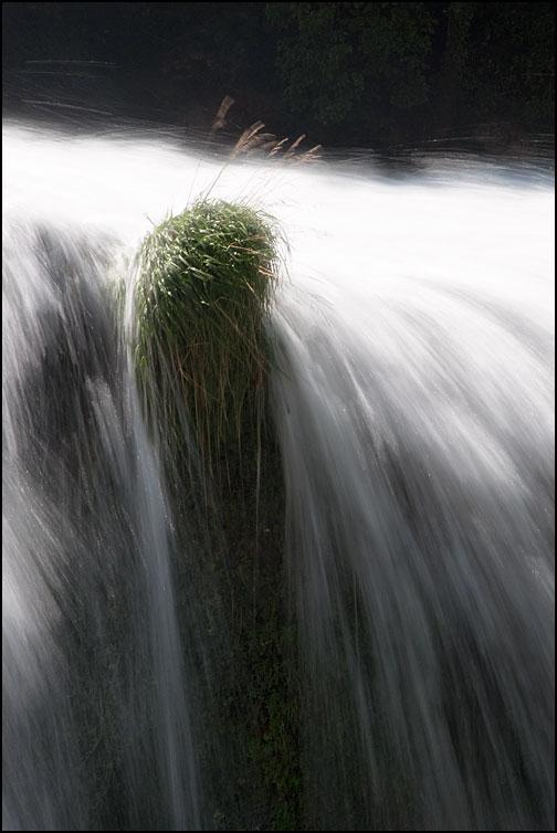 Grästuva vid vattenfall