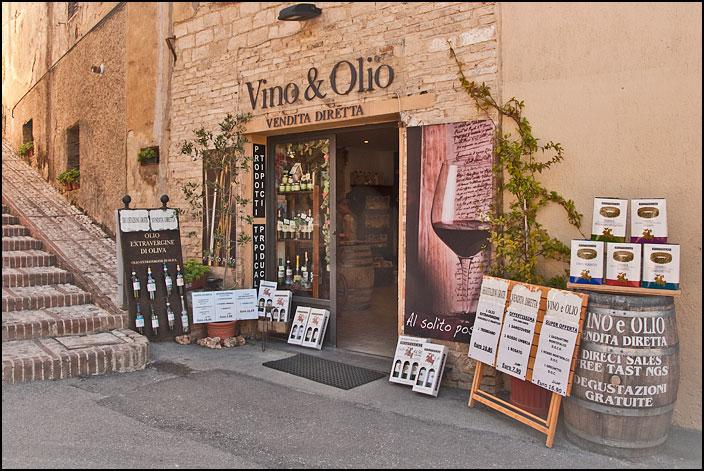 Vin- oljebutik i Montefalco