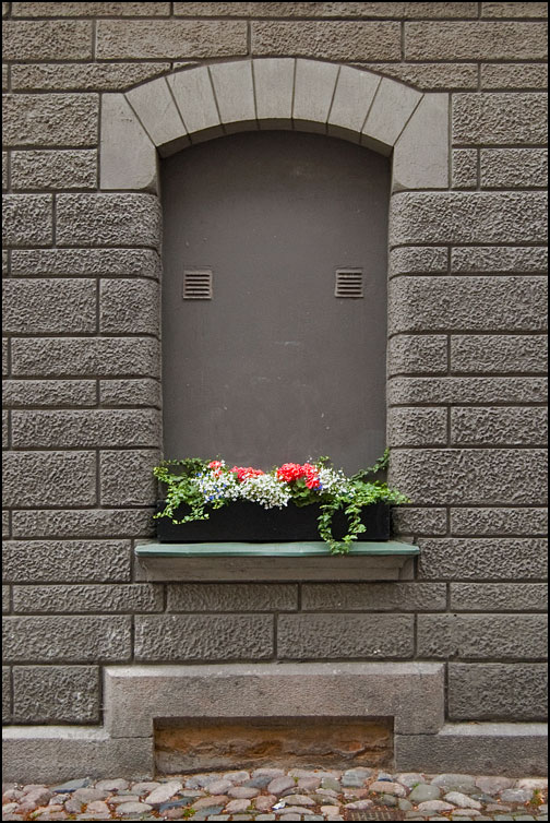 Ventilerat fönster med blommor