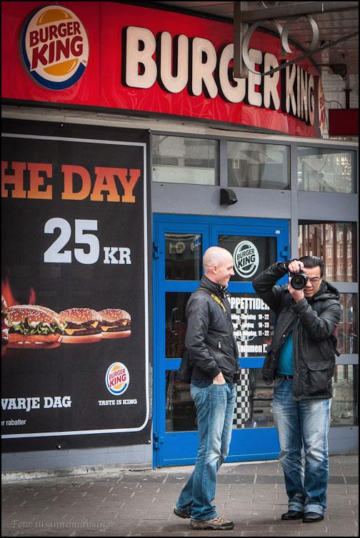 Kristoffer och Rei vid Burger King