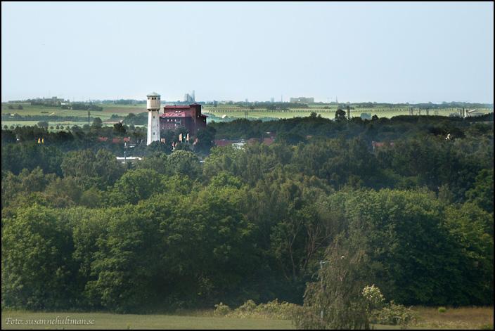 Gamla vattentornet och lagerhuset från ovan