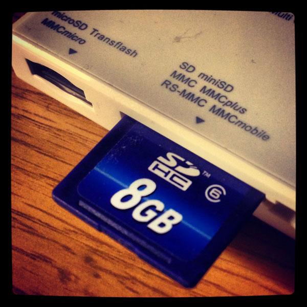 SD-kort i minneskortsläsare