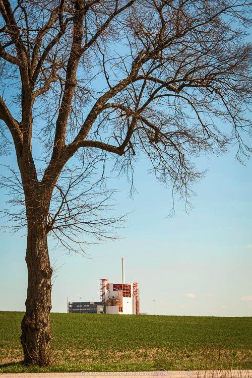 Örtofta kraftvarmeverk med träd i förgrunden