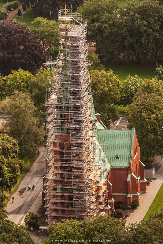 Flygbild på Eslövs kyrka