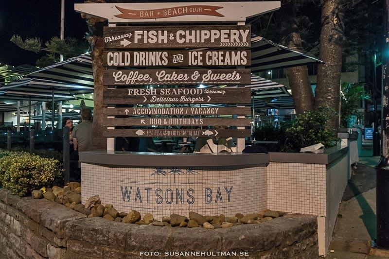 Skylt vid Watsons Bay