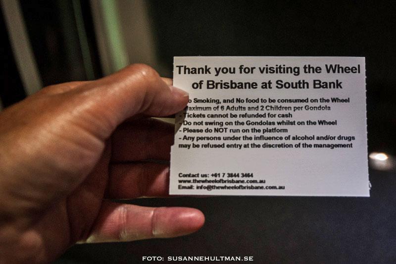 Regler för att åka upp i Wheel of Brisbane