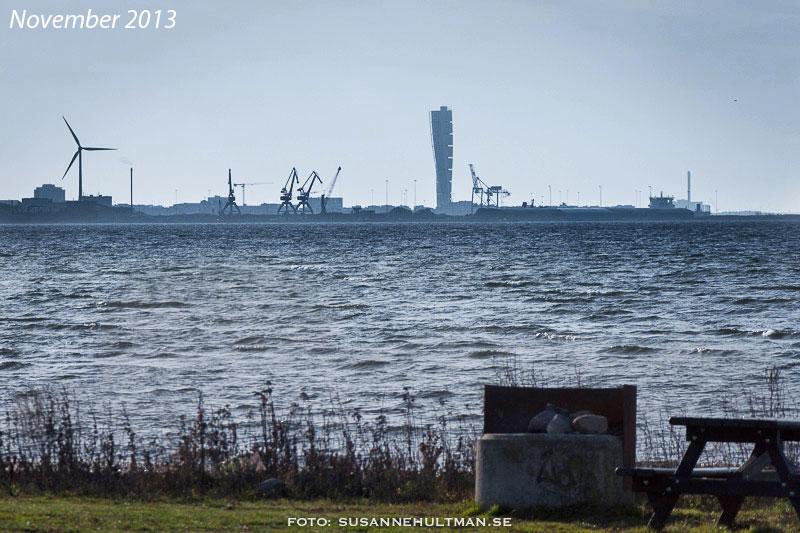 Utsikt mot Malmö från Lomma hamn