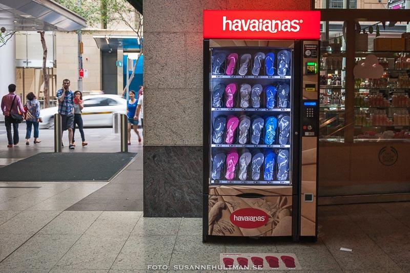 Automat för badskor, s.k. havaianas