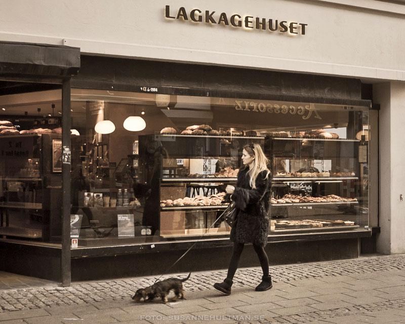 Kvinna med hund framför Lagkagehuset