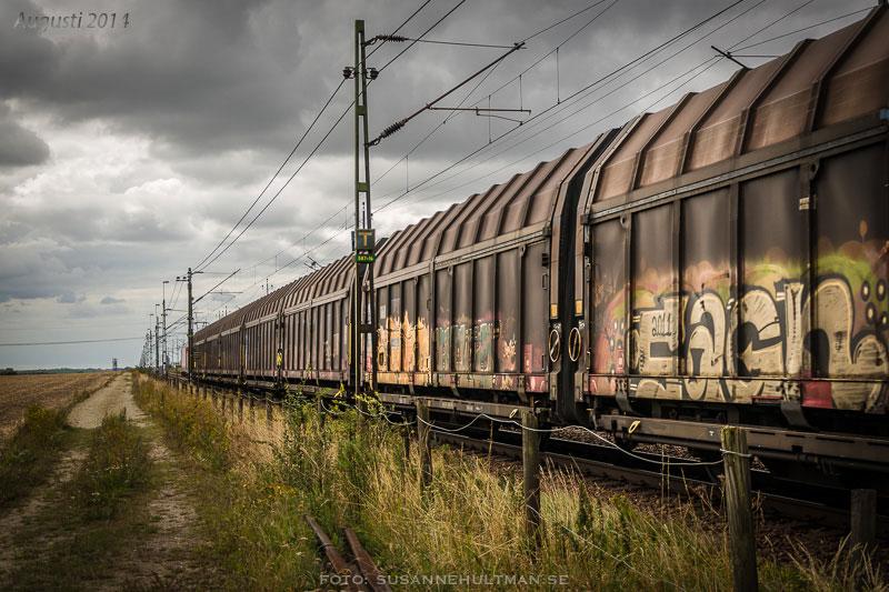 Godståg med graffiti.