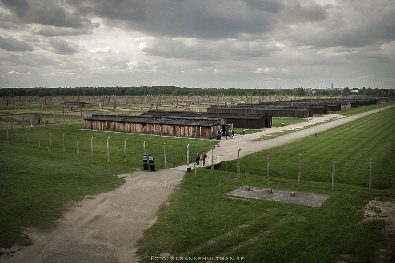 Utsikt över Birkenau från dödsportens torn