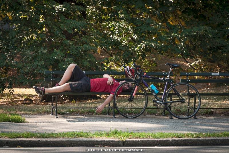 Cyklist liggande på bänk med cykeln bredvid sig.