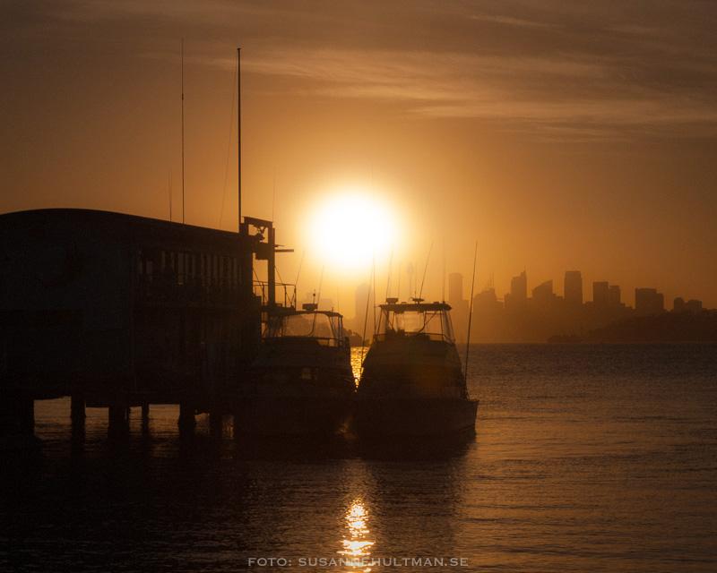 Solnedgång över havet mot Sydney
