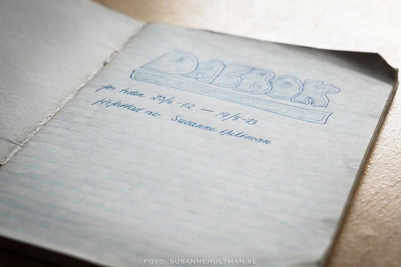 Första uppslaget i dagboken