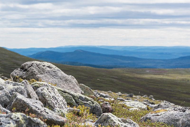 Blå fjäll bakom stora stenar