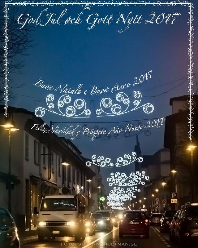 Julkort med text på svenska, italienska och spanska.