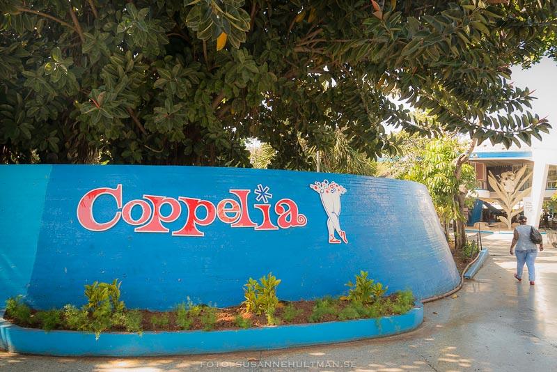 Stor skylt med Coppelia