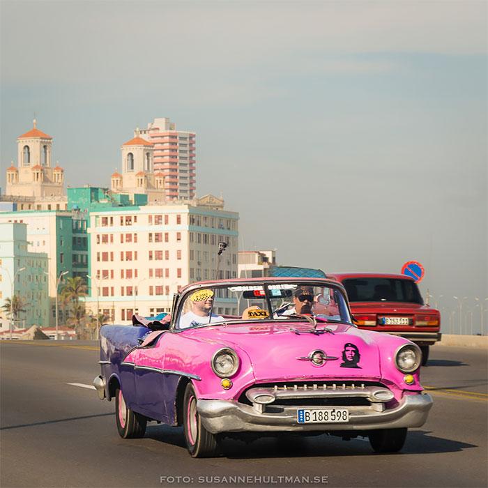 Rosa taxibil med Che