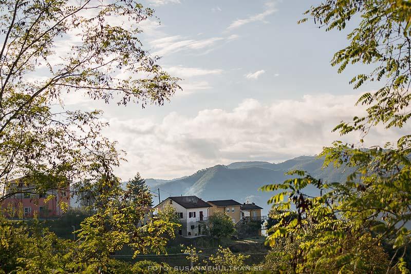 Berg och hus omgivna av grönska.