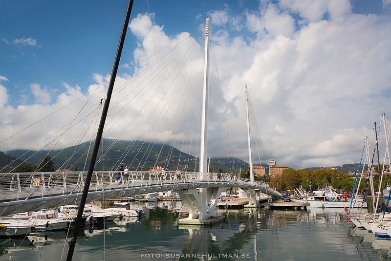 Bro över vatten med segelbåtar