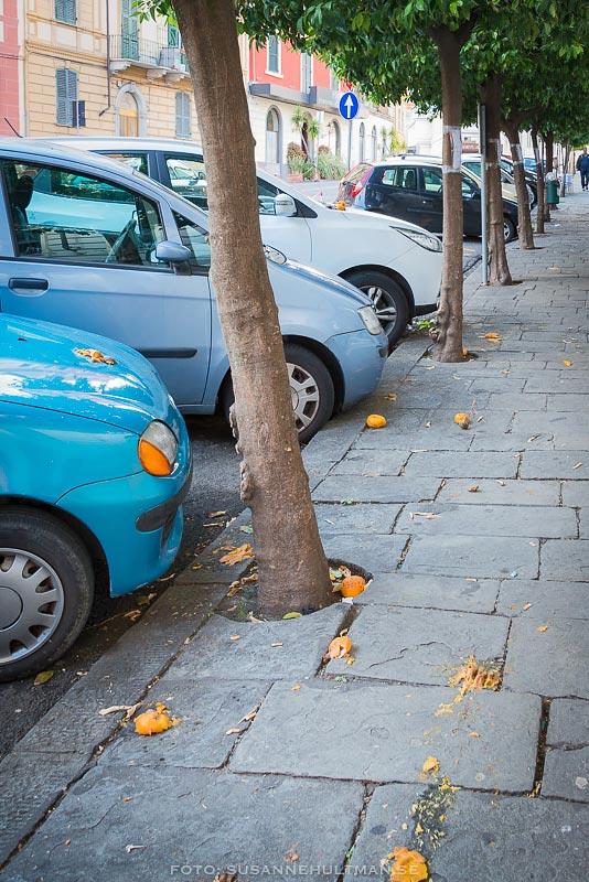 Krossade apelsiner på trottoar och bil