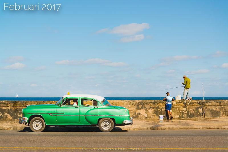 Grön gammal bil vid havet