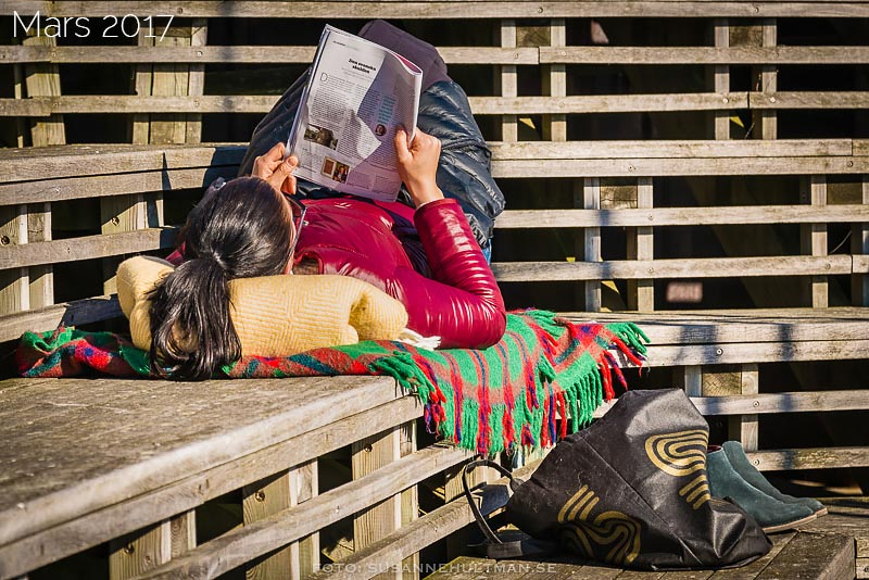 Läsande kvinna som ligger i solen