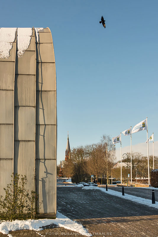 Eslövs kyrka sedd från medborgarhuset