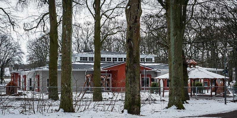 Ekebackens förskola sedd genom trädstammarna