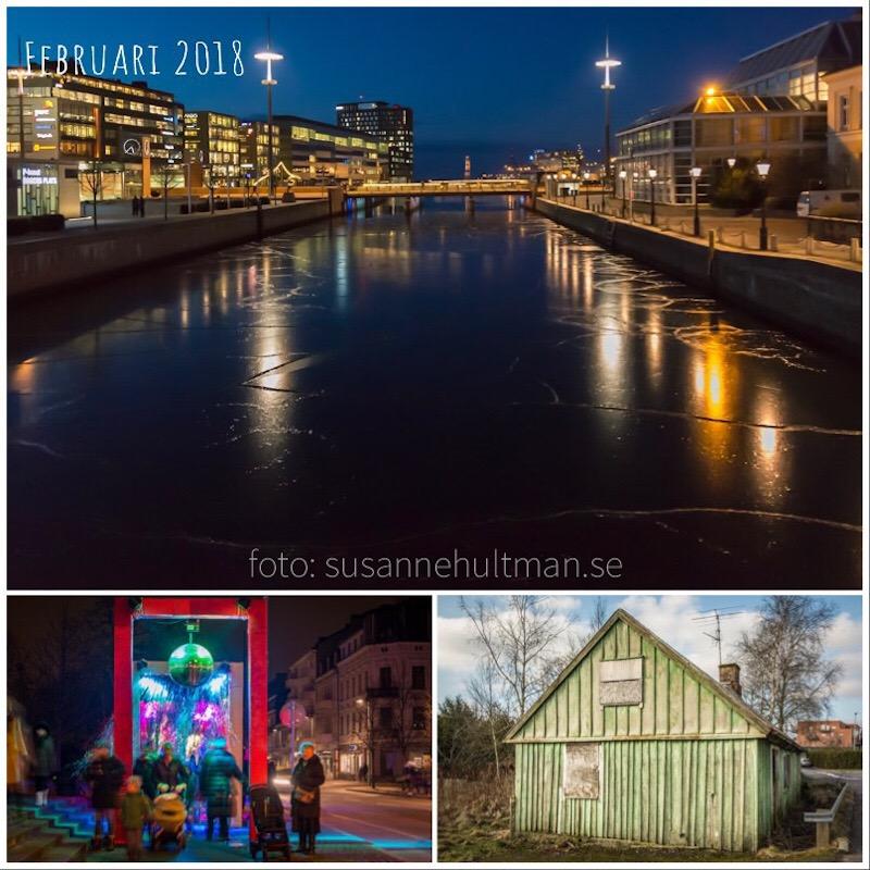 Collage med nattbild från Malmö, kvällsbild från Helsingborg och ett fallfärdigt hus i Eslöv.