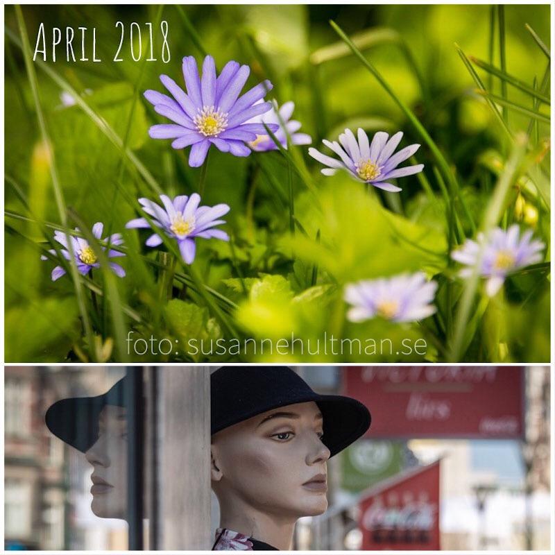 Collage med blommor och skyltdocka.