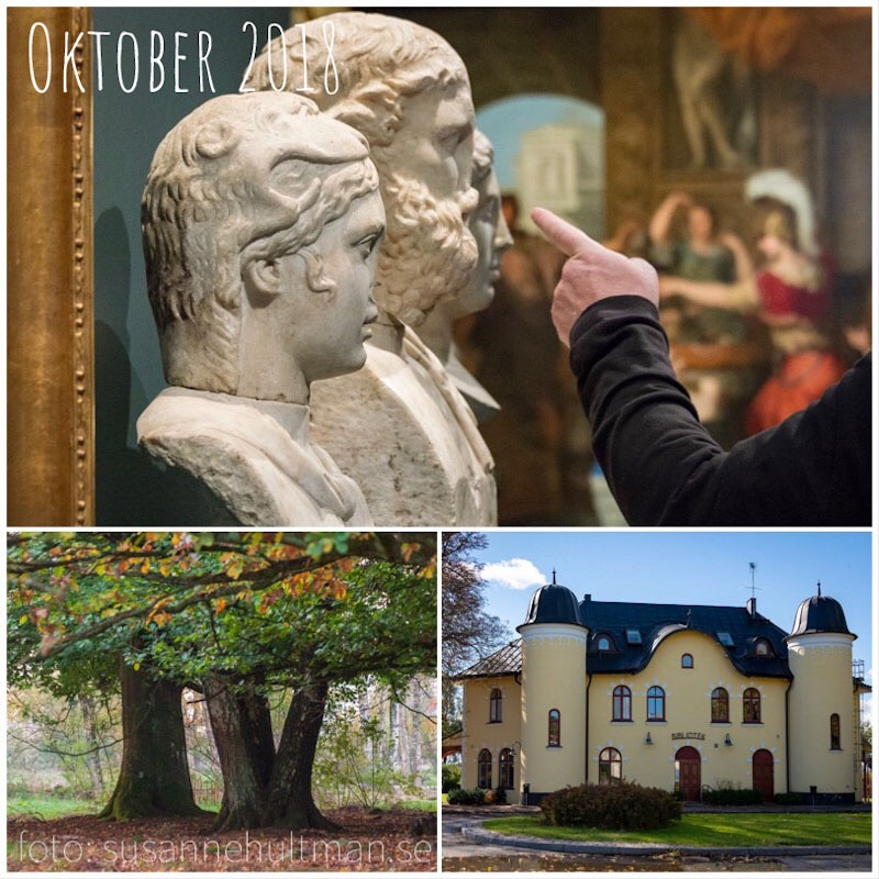 Collage med skulpturer, träd och biblioteket i Harlösa.
