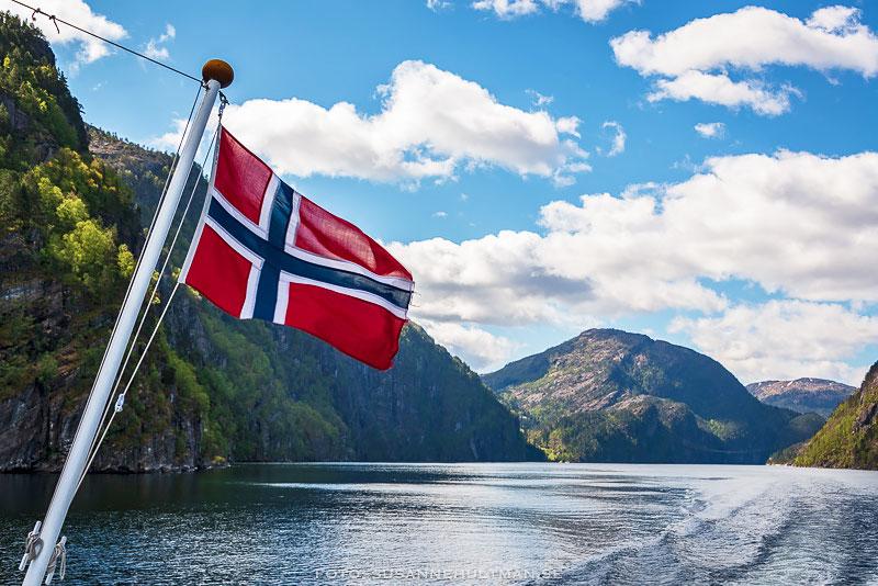 Norges flagga och i bakgrunden fjorden och berg