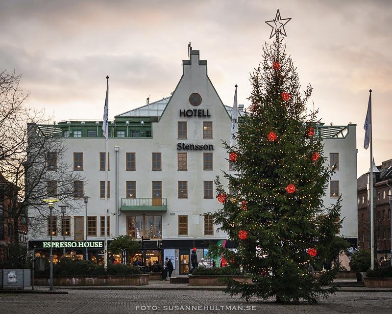 Hotell Stensson och julgranen på Stora torg