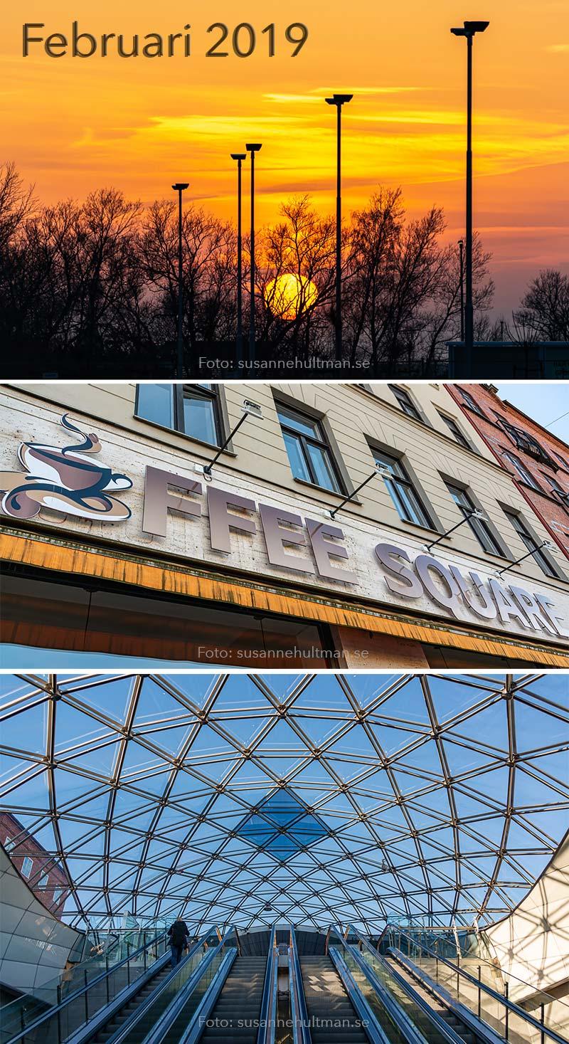 Solnedgång, skylt med Coffee Square och taket vid Triangelns station.