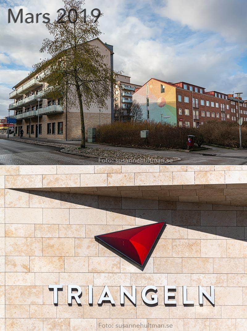 Nya hus i Eslöv och skylten vid Triangelns köpcentrum.