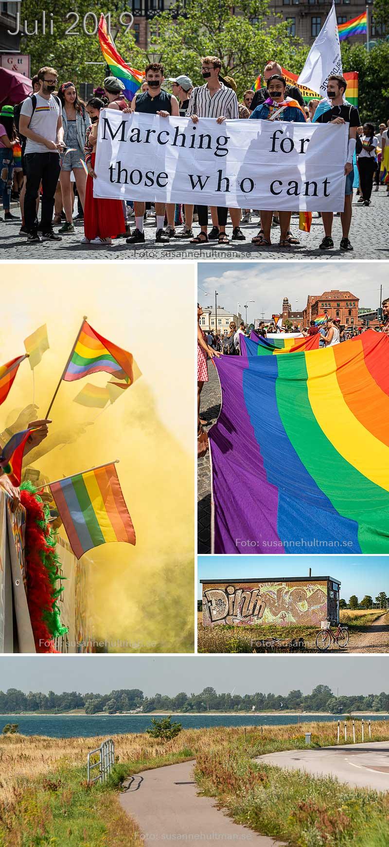 Tre foton från prideparaden och två foton på cykelvägar.