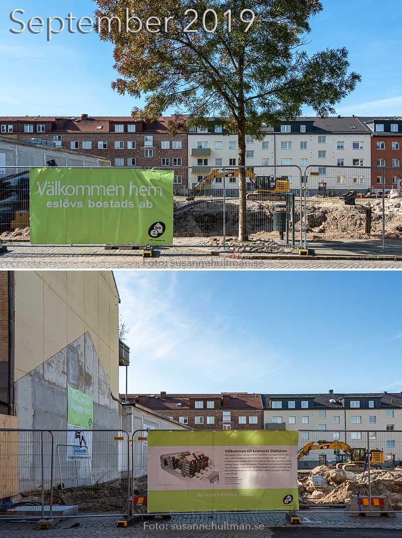 Två foton av nybyggnation.