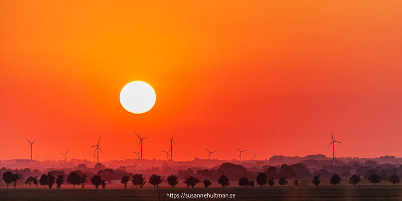 Röd himmel med sol och vindkraftverk i horisonten.