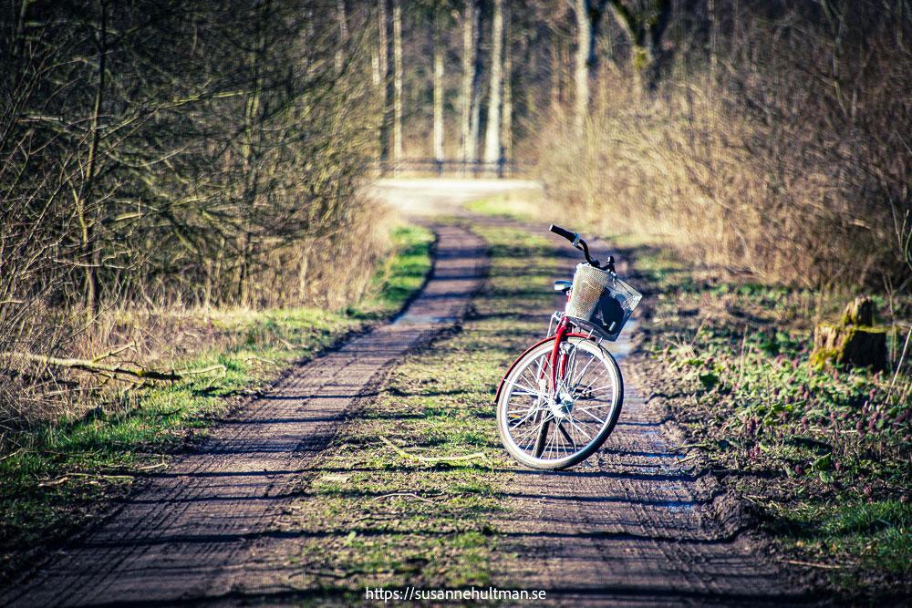 Min röda cykel på grusväg.